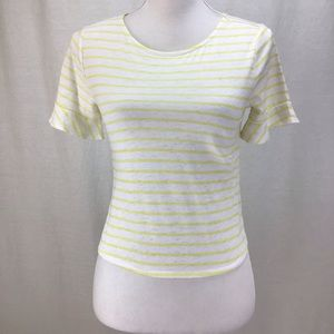 Lucky Brand Womens Low Stripe Top Yellow Multi XS